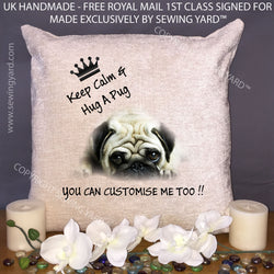 "Luxury Personalised 18"" Chenille Cushion & Pad Keep Calm And Hug A Pug Birthday Gift"