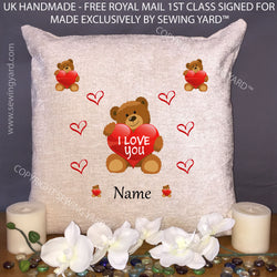 "Luxury Personalised 18"" Chenille Cushion & Pad I Love You With Teddy, Hearts And Name for Mothers Day, Birthday or Christmas - Free Delivery"