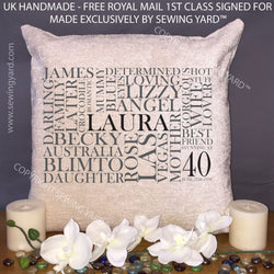 "Luxury Personalised 18"" Chenille Cushion & Pad Word Cloud For Birthday, Mothers Day, Anniversary, Christmas Unique Gift"