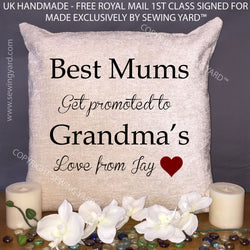 "Luxury Personalised 18"" Chenille Cushion & Pad Best Mums Get Promoted To Grandmas, Mothers Day  Present, Gift, With Own Name"