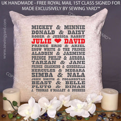Personalised Cushion & Pad with Disney Couples