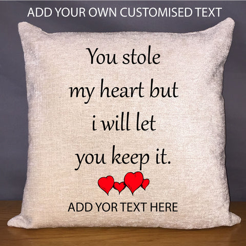 Luxury Personalised 18 Chenille Cushion Pad You Stole My Heart En Sewing Yard