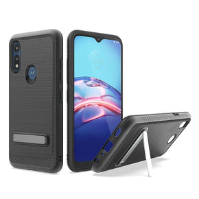 Motorola Moto E7 (2020) Hybrid Brushed Metal Stand Case Cover