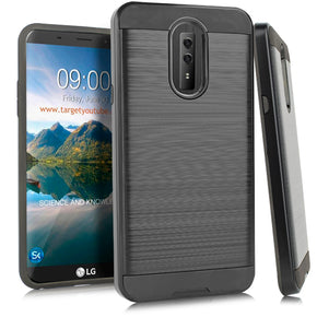 LG Stylo 4 Hybrid Brushed Case Cover