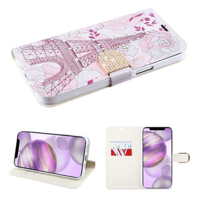 Apple iPhone 12 Pro Max (6.7) Rhinestone Design Wallet Cover