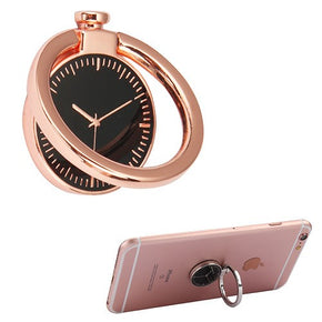 Metallic Clock Design Ring Phone Holder