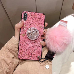 Apple iPhone Xs Plus Bling Kickstand Fur Ball Case Cover