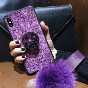 Apple iPhone 9 (XR) Bling Kickstand Fur Ball Case Cover