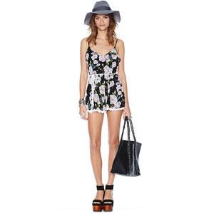 Floral Print Backless Rompers