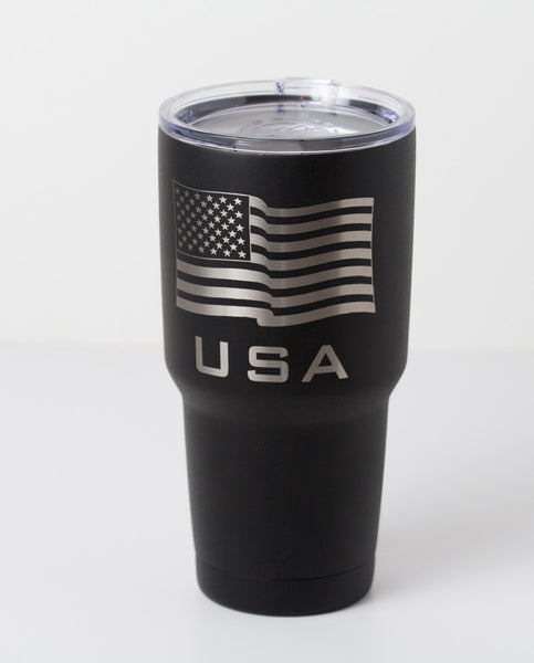 30 oz American flag tumbler in black