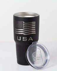 30 oz American flag tumbler in black with lid