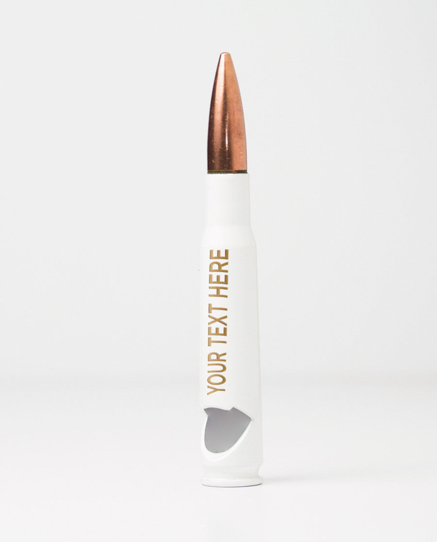 50 Caliber Bottle Opener - White