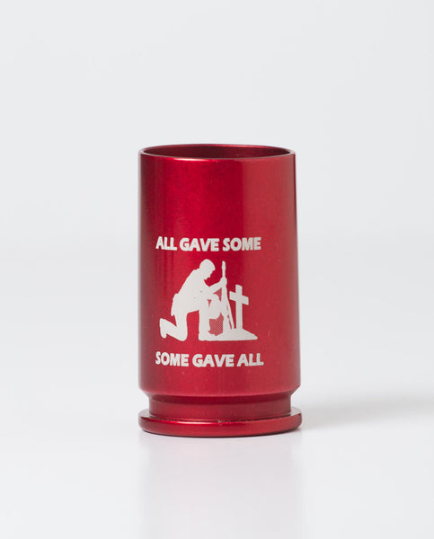 personalized, colored shot glasses in red