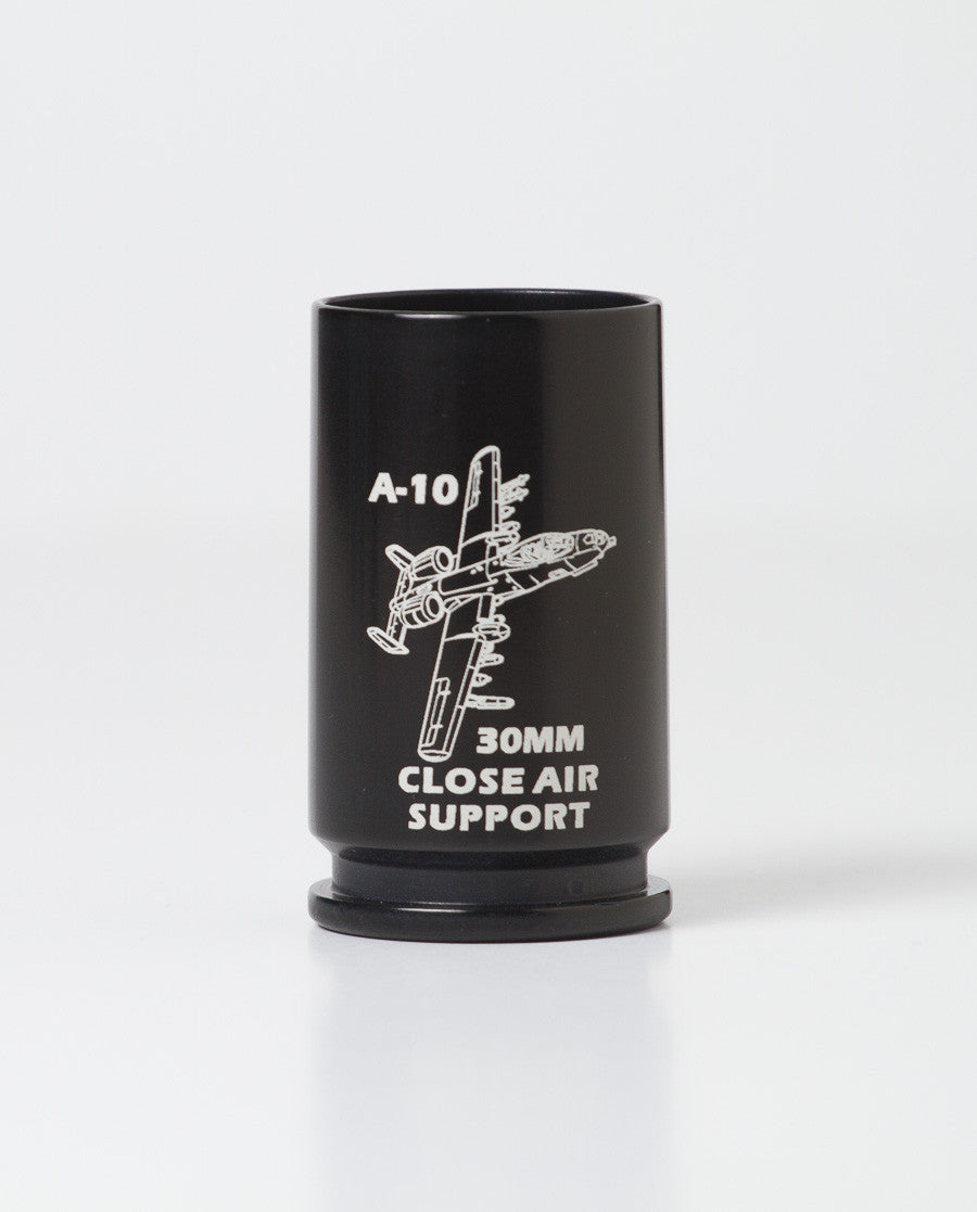 once fired 30mm shell casing shot glass in black