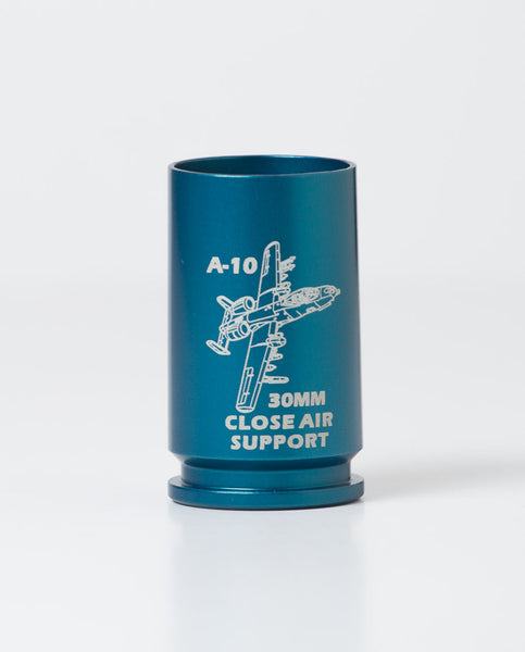 engraved 30mm shell casing shot glass in blue