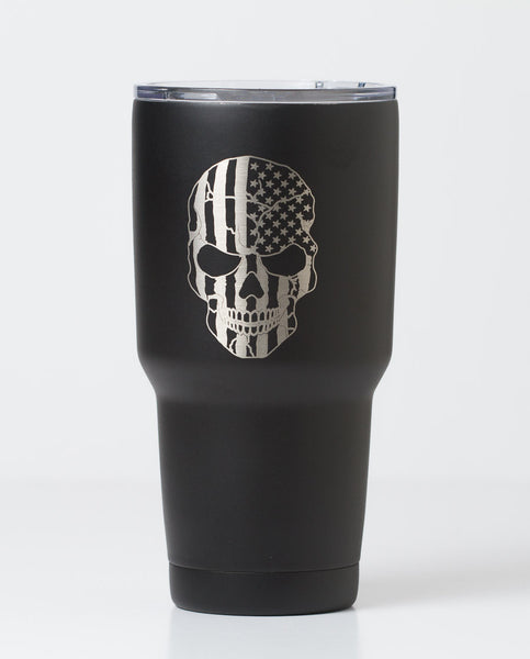 engraved, 30 oz skull and usa tumbler