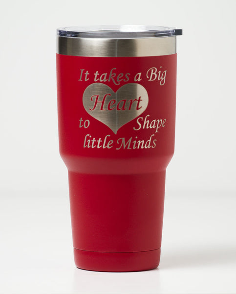 engraved stainless steel travel mug in red