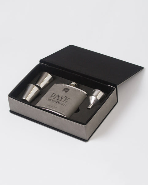 6 oz. Gray Leatherette Flask Gift Set