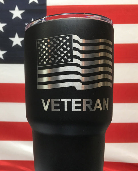 engraved veteran patriotic tumbler in black