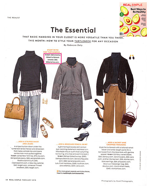 Real Simple Magazine: 525 America's Ribbed Turtleneck Sweater is The Essential layering style
