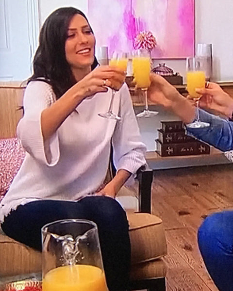 The Bachelorette, Becca Kufrin, in 525 America's Tassel Fringe Cotton Shaker Knit Sweater.