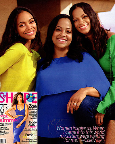 Actress Zoe Saldana and sisters wear 525 America in SHAPE Magazine