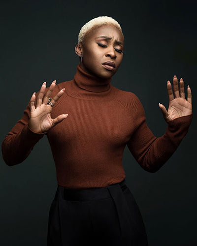 Cynthia Erivo in 525 America Ribbed Turtleneck Sweater