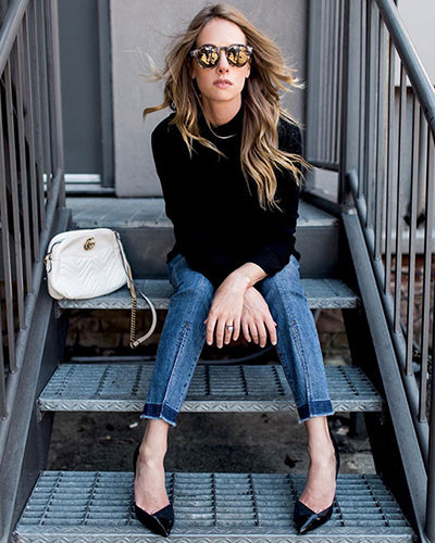 Blogger Paula Rallis in 525 America Ribbed Turtleneck Sweater