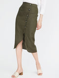 Linen Button Front Slit Skirt