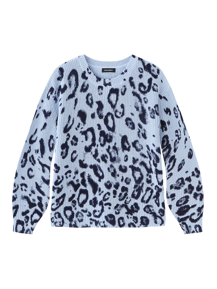 Leopard Print Cotton Shaker Crewneck Sweater
