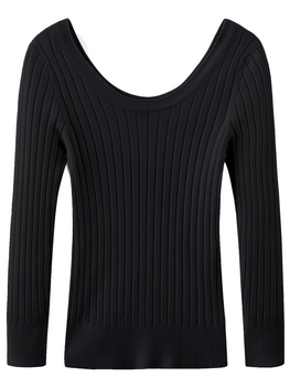 Roll Trim Scoop Neck Long Sleeve Top