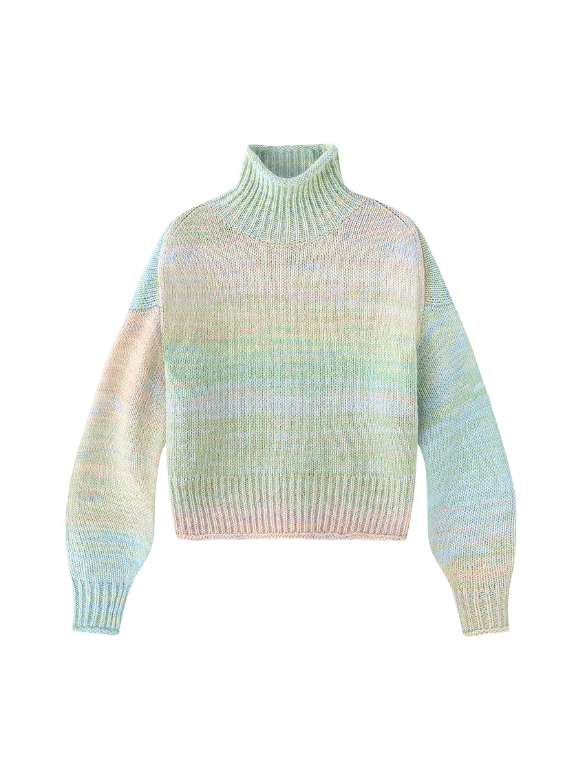 Spacedye Cropped Mock Neck Sweater