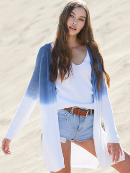 Cotton Shaker Dip Dye Open Front Duster Cardigan