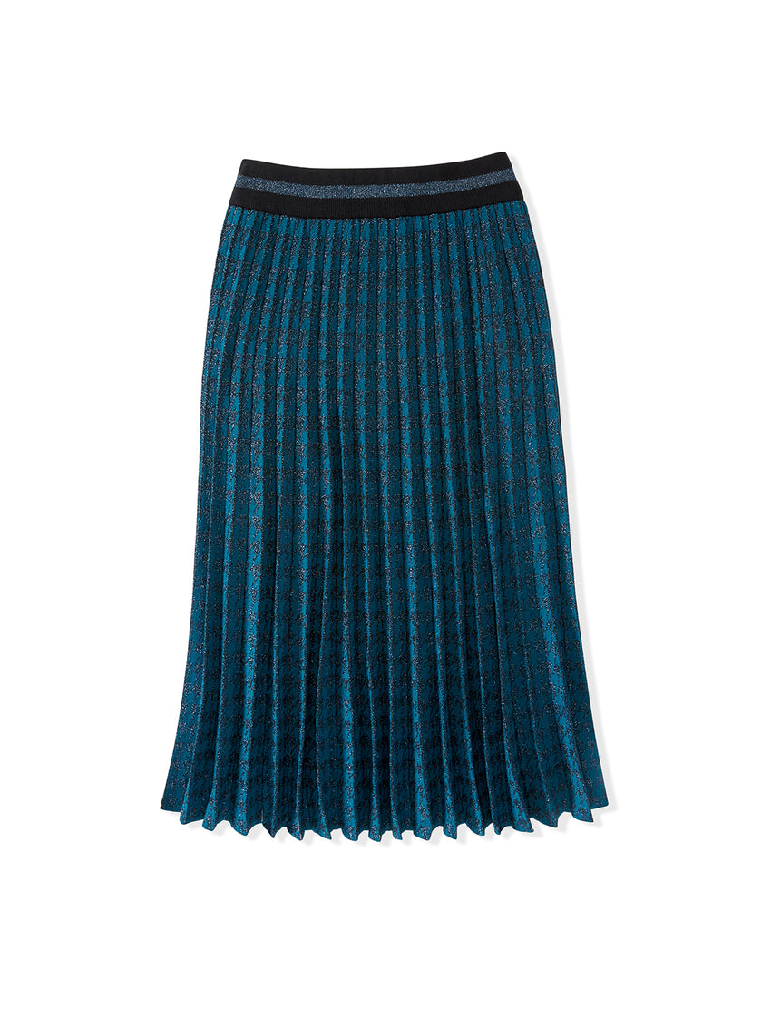 Houndstooth Lurex Pleated Skirt