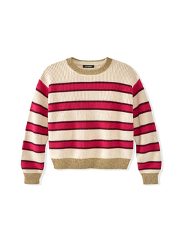Kids Cotton Shaker Lurex Trim Striped Sweater