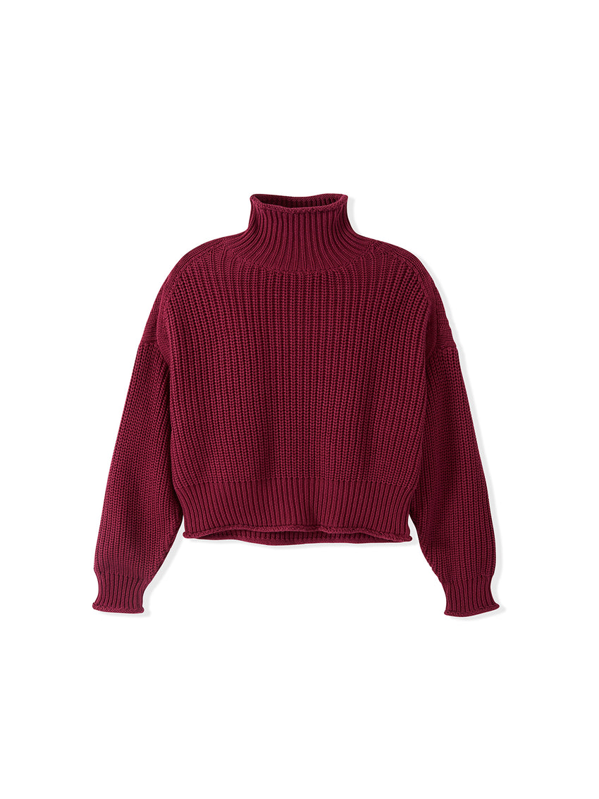 Cotton Shaker Cropped Rolled Mock Neck Sweater
