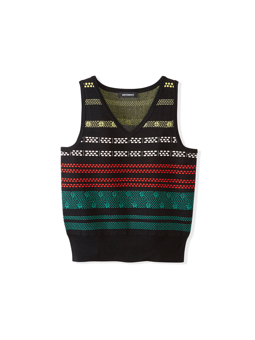 Brick Jacquard Knit V-Neck Tank