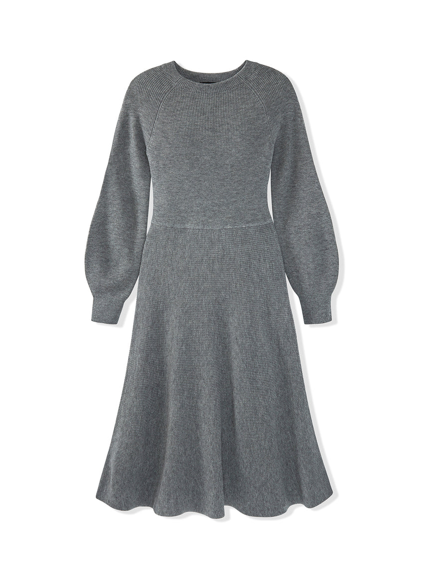 Merino Wool Blend Balloon Sleeve Fit & Flare Dress