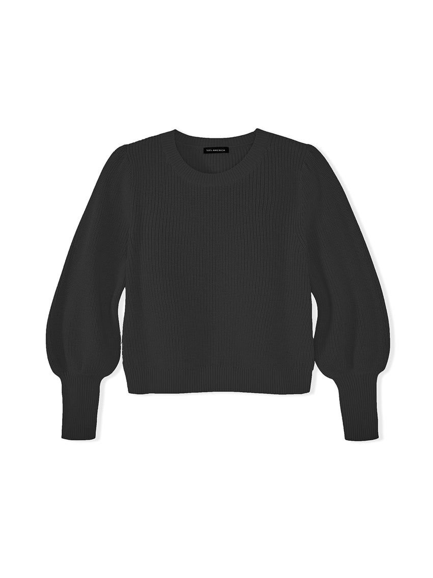 Cotton Shaker Bishop Sleeve Sweater