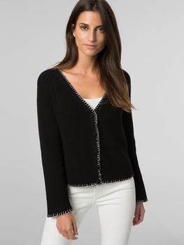 Cotton Contrast Stitch Short Cardigan