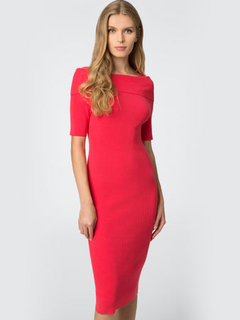 Ribbed Knit Foldover Neck Dress