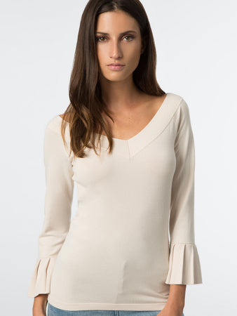 Pleated Ruffle Sleeve V-Neck Sweater