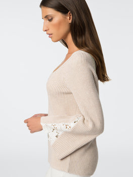 Cotton Sweater With Lace Bell Sleeve