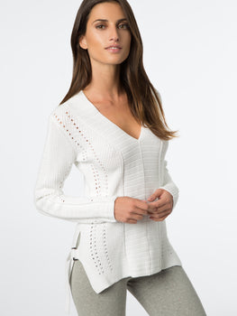 Buckle Side Cotton V-Neck Sweater
