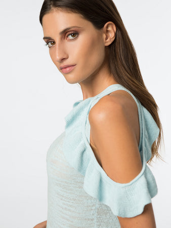 Ruffle Cold Shoulder Tank