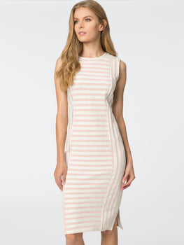 Slub Stripe Sleeveless Dress