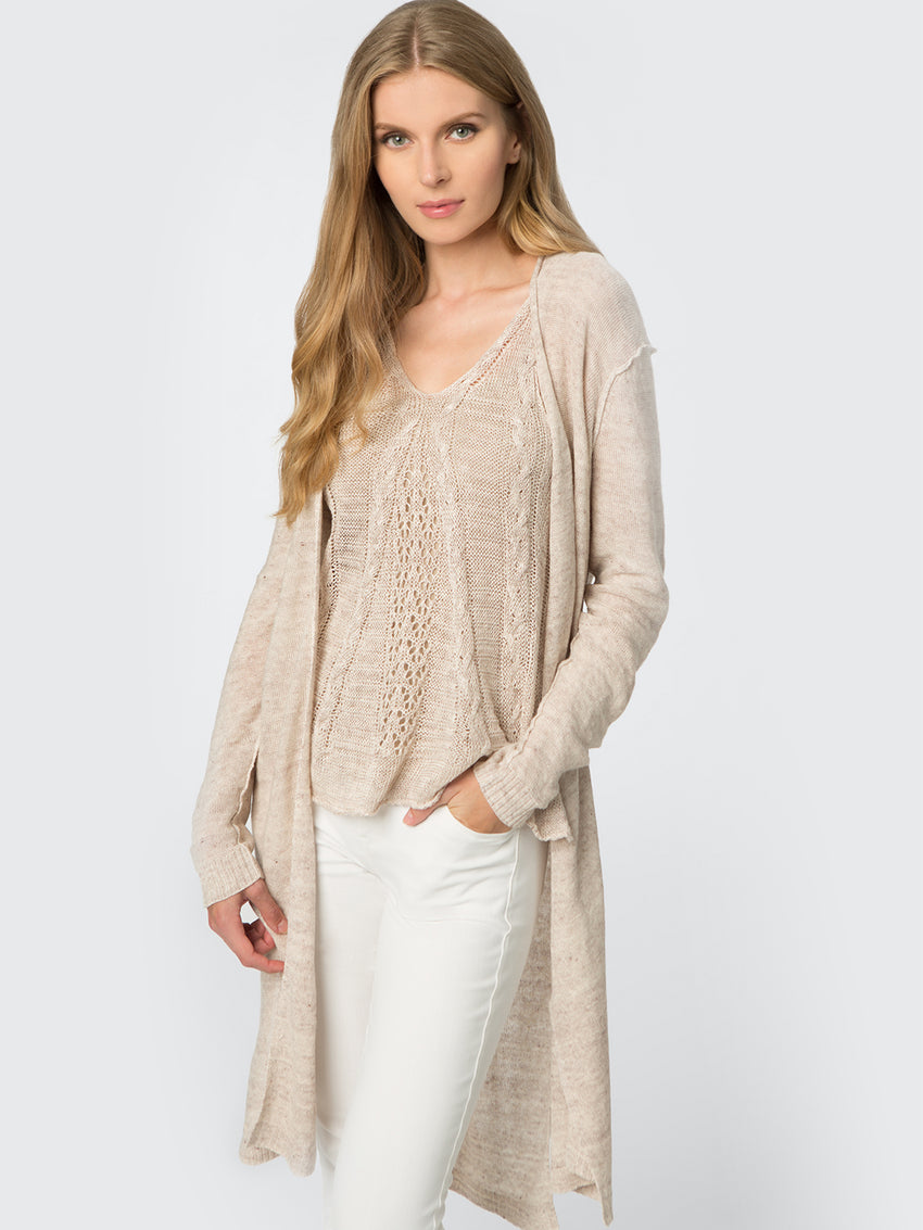 Linen Raised Seam Duster Cardigan