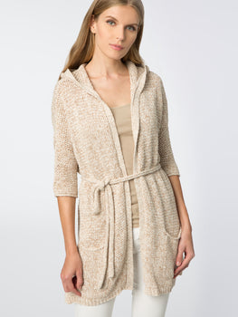 Hooded Belted Cardigan