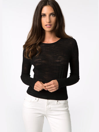 Ribbed Long Sleeve Cropped Sweater