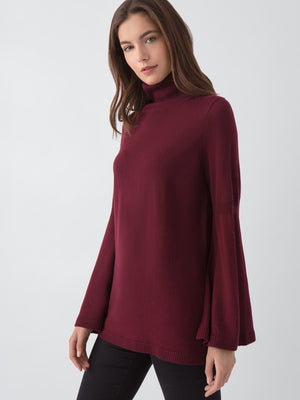 Merino Wool Tulip Sleeve Turtleneck
